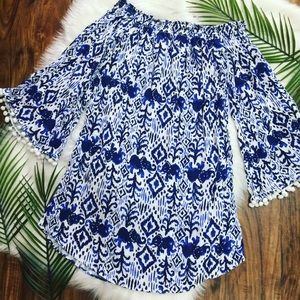 Lilly Pulitzer Pompom off the shoulder Dress Tunic