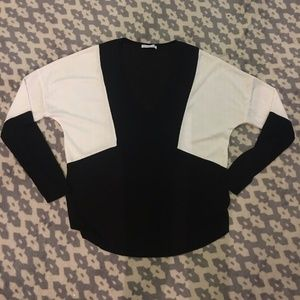Zara B&W V-Neck Blouse