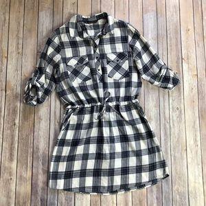Zara Basic Flannel Plaid Button Down Dress
