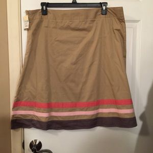 Tan Skirt with Pink Stripes
