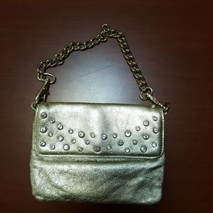 Metalic Gold crystal genuine leather mini purse