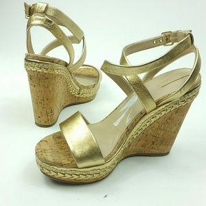 Aldo size 11 metalic gold wedge heels ankle strap