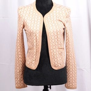 Frenchi neutral damask print fly-away jacket