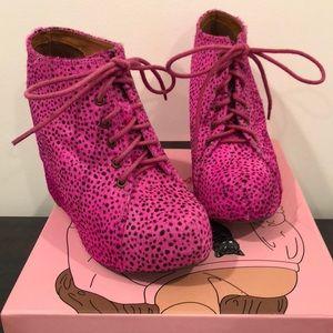 Jeffrey Campbell 99 Tie Hot Pink Wedge Bootie 8.5