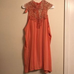 Embroidered neck summer dress