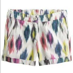 J. Crew Watercolor Ikat Shorts White & Pink