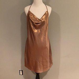 🆕 w Tags Miss Selfridge Metallic Cowl Neck Dress