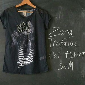 Zara Trafaluc Creepy Cat Shirt Sz M