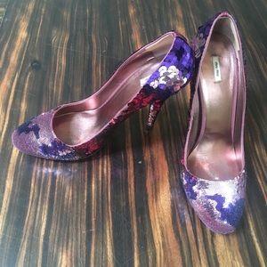 MiuMiu magenta pink and purple paillette pump