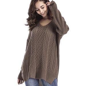 Mixed Knit High Low Side Slit V Neck Sweater Mocha