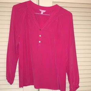 Lilly Pulitzer Hot pink Elsa blouse