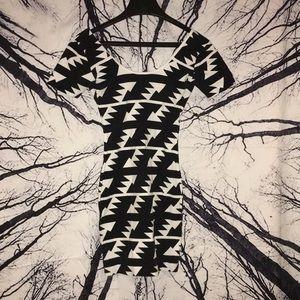 American Apparel sz S black white bodycon dress