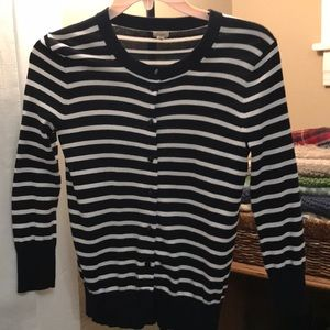 Navy and White Striped J Crew Cardigan