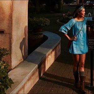 Zara denim ruffle sleeve dress