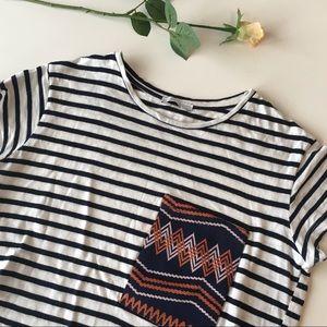 Zara | black and white striped t shirt