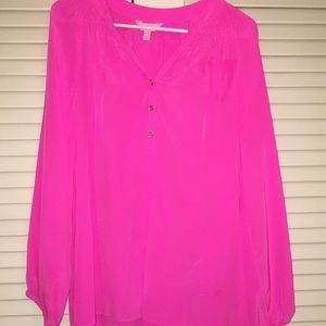 Lilly Pulitzer bright hot Pink Elsa blouse