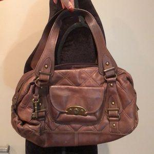 Brown leather fossil shoulder bag !
