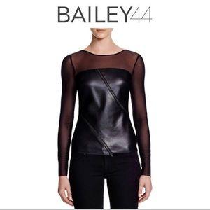 Bailey44 Zipper Front Mesh Sleeve Top
