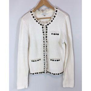 Cabi White Textured Jewel Embellished Sweater