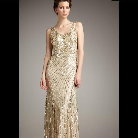 Aidan Mattox Dresses | Aiden Mattox Chevron Sequin Gown | Poshmark