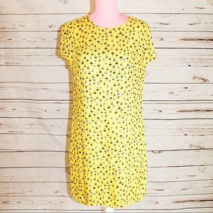 Zara Trafaluc Yellow Dress with Palm Tree Print