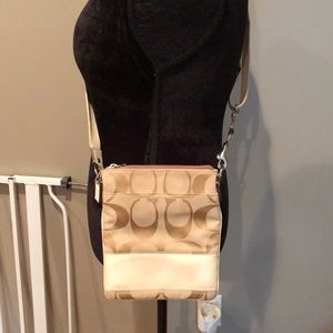 Tan and off-white coach crossbody !