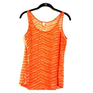 Small, sheer, orange tank
