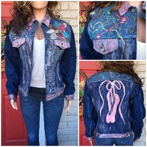 Vintage upcycled painted denim jacket