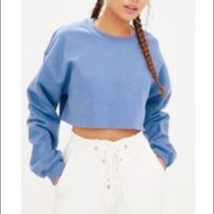 NEW Pastel blue cropped sweater top oversized!