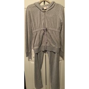 Gray Velour Charlotte Russe Tracksuit Set