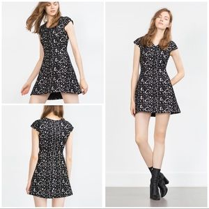 NWT Zara Jacquard Leopard Floral Flounce Dress