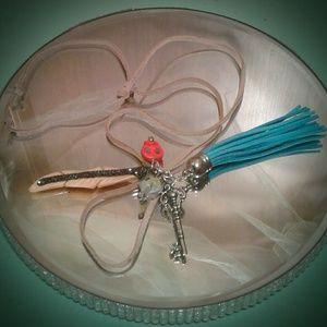 Jewelry - LEATHER Hippie Necklace w/charms&skull