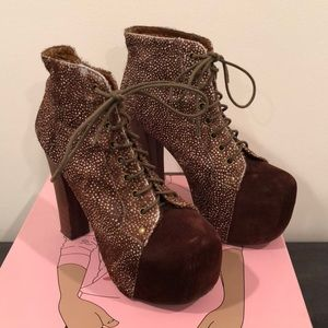 Brown Speckled Fur Jeffrey Campbell Lita Heels 8.5