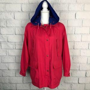 London Fog Pink Fuchsia Coat Jacket Adjust Hood