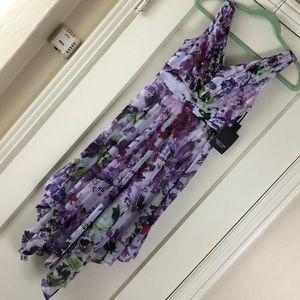 Vera wang petite XS purple floral chiffon dress