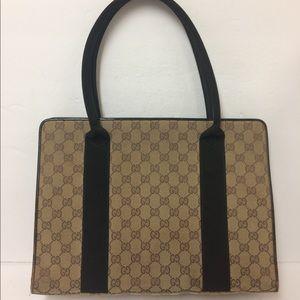 Gucci Ebony GG Canvas and leather Tote