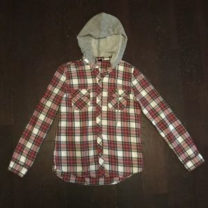 Empyre Hooded Red Black and White Plaid Button Up