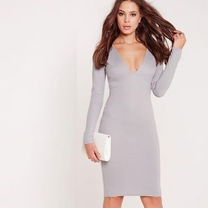 Missguided Grey Plunge Long Sleeve Bodycon