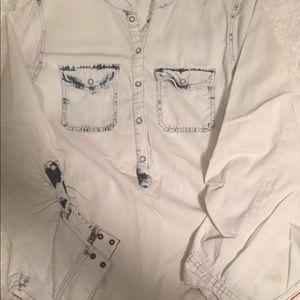 Sanctuary white washed jean shirt
