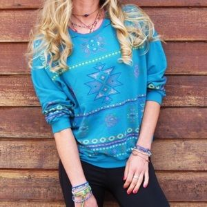 Vintage Aztec Rose Pattern Turquoise Pullover