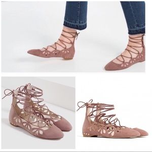 NWT Zara Suede Leather Laser Cut Out Lace Up Flats