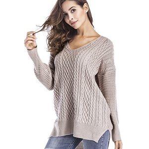 Mixed Knit High Low Side Slit V Neck Sweater Beige