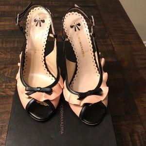 BCBG Maxazria heels. Light pink/cream and black.