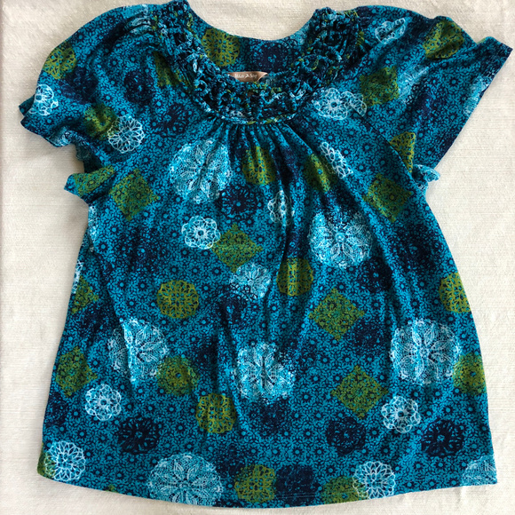 White Stag Tops - Green and Blue Floral Print Top Size