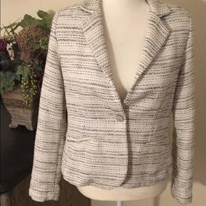 CAbi Static Black white tweed jacket 4