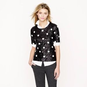 J. Crew Party Sequin Top Black White Polka Dot