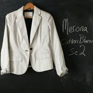 Merona Gray Striped Blazer Sz 2