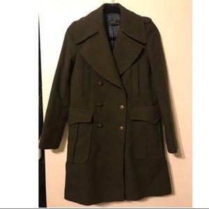 Zara army green wool coat