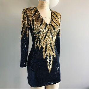 VTG De Oscar Collection Sequin Gold & Black Dress