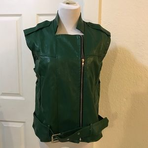 Green Faux Leather Vest